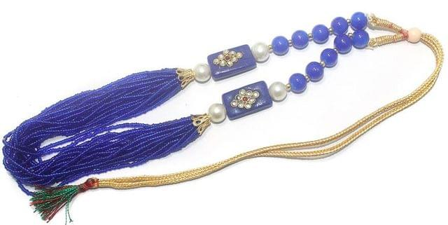 Glass Kundan Beaded Long Necklace Blue For Girls