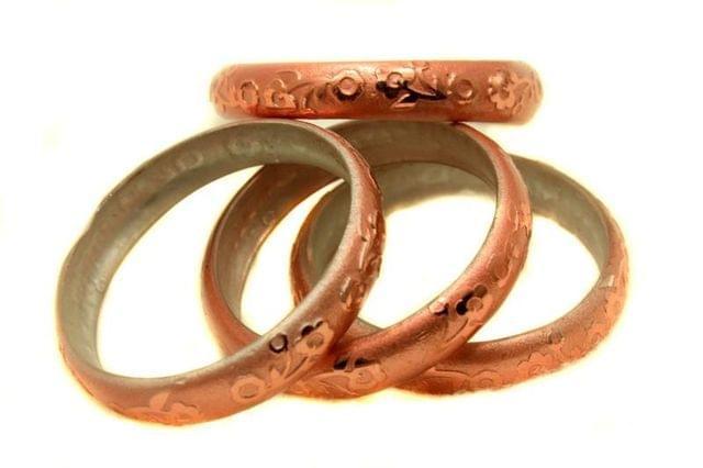 Copper Glass Non Plated Bangles Kada For Women, Size 2.6