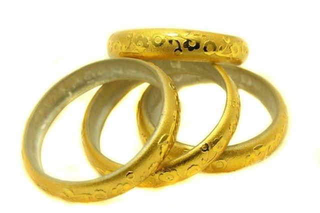 Golden Glass Non Plated Bangles Kada For Women, Size 2.6