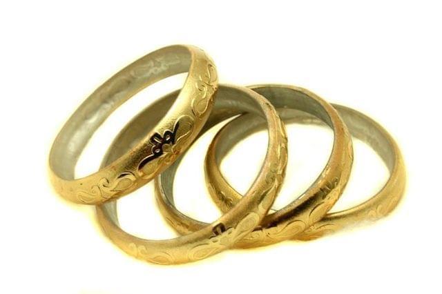 Golden Glass Non Plated Bangles Kada For Women, Size 2.4