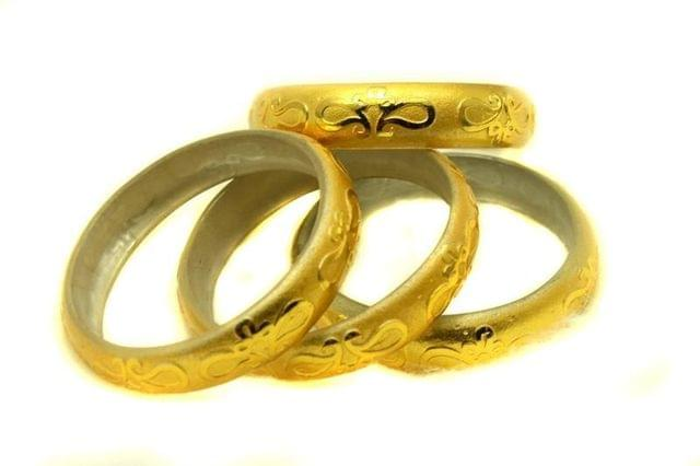 Golden Glass Non Plated Bangles Kada For Women, Size 2.4