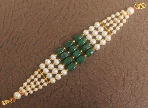 Glass Beaded Designer 4 Layer Rakhi Green