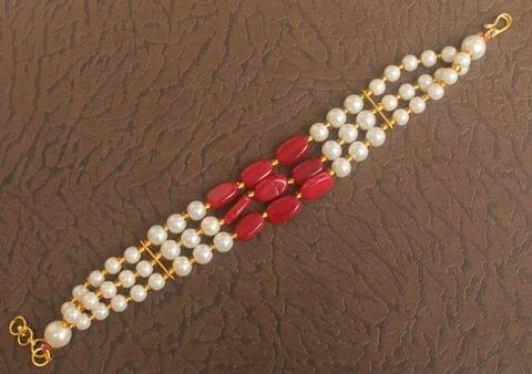 Glass Beaded Designer 3 Layer Bracelet Red