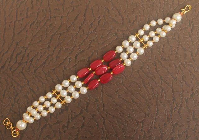 Glass Beaded Designer 3 Layer Bracelet Red