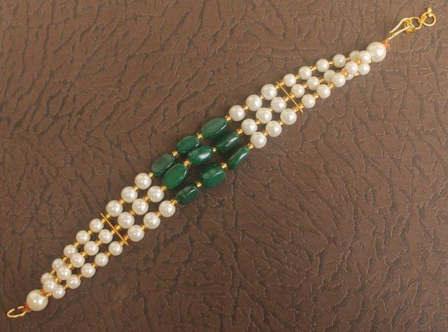 Glass Beaded Designer 3 Layer Bracelet Green