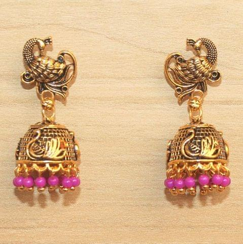 Meenakari Jhumka Earrings Pink