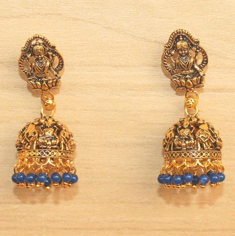 Meenakari Jhumka Earrings Blue
