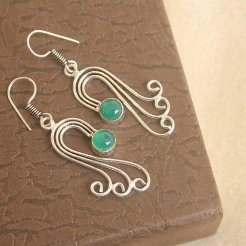 Brass Stone Earring Silver For Girls
