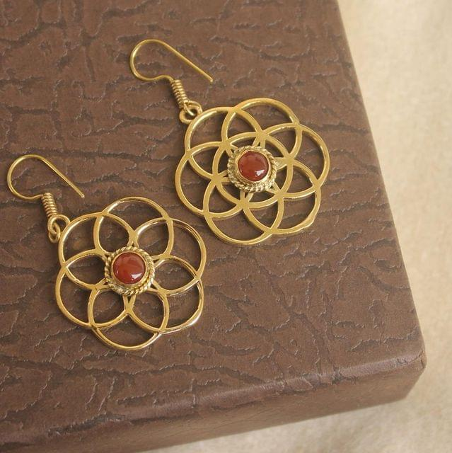 Brass Stone Earring Golden For Girls