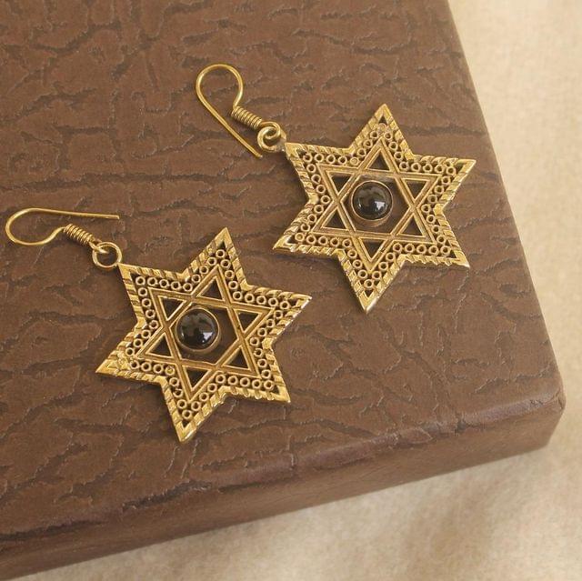 Brass Stone Earring Golden For Girls