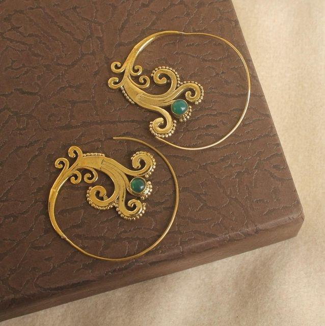 Brass Tribal Hoop Stone Earring Golden For Girls