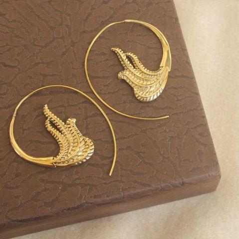 Brass Tribal Hoop Earring Golden For Girls