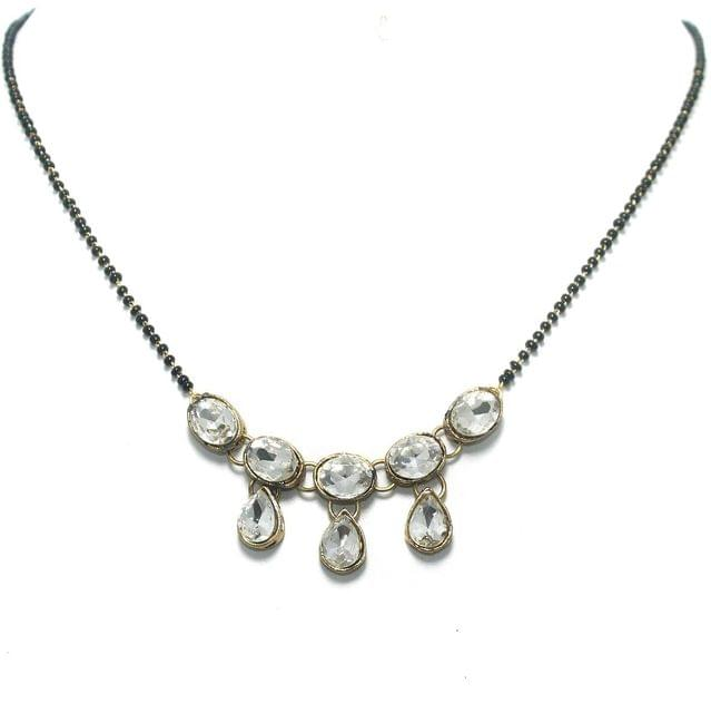 White Glass Stone Gold Plated Mangalsutra
