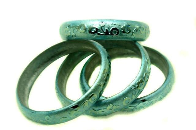 Turquoise Glass Non Plated Bangles Kada For Women, Size 2.4