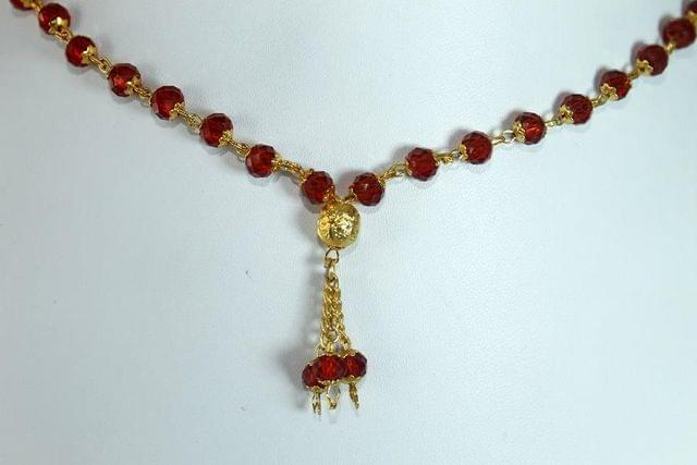 Crystal Faceted Beaded Mala Red