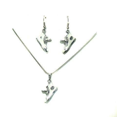 Silver Plated Shoe Charm Chain Necklace Set