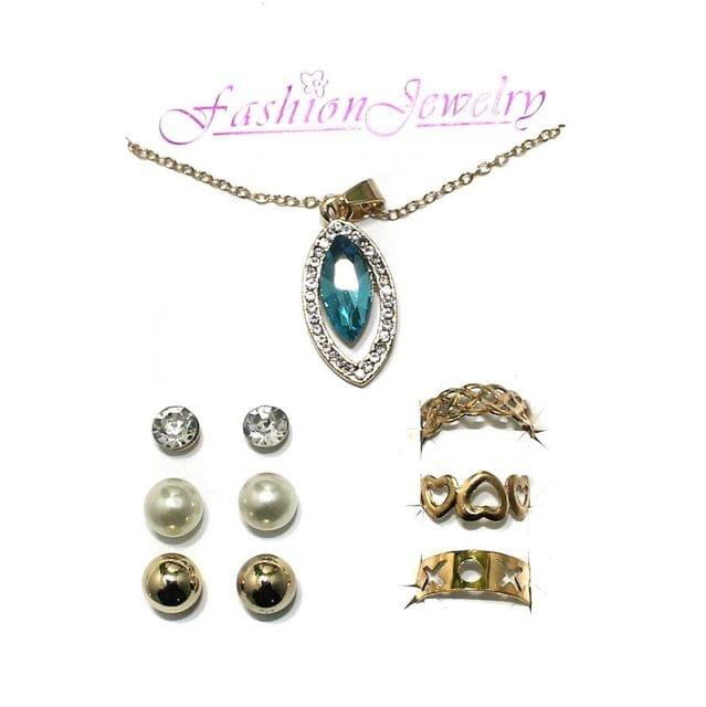 Gold Plated Austrian Stone Necklace Bracelet Studs Combo Set