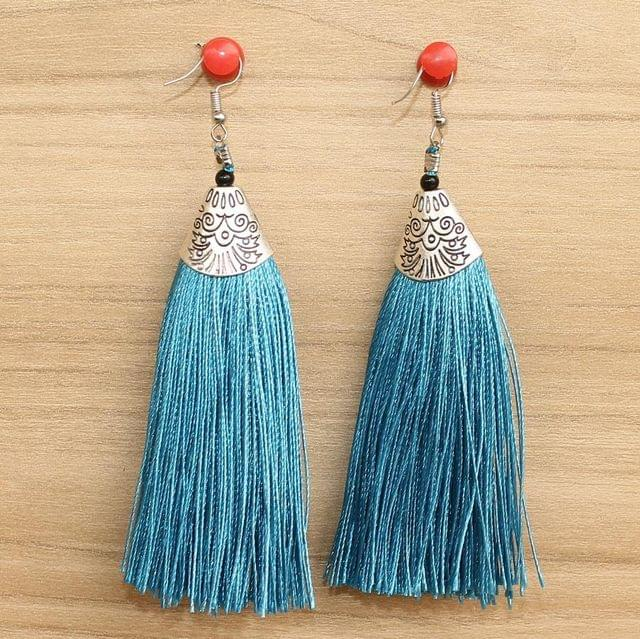 Long Tassel Earrings Turquoise