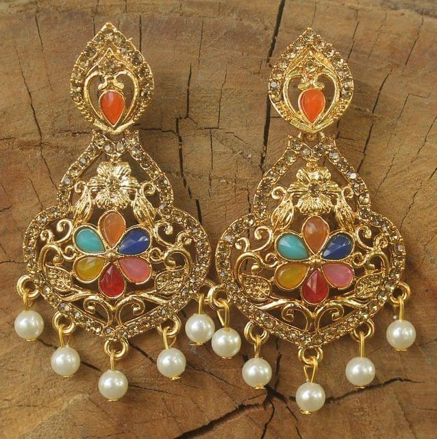 Gold Plated Alloy Pearl and AD Stone Setting Earring Multicolor