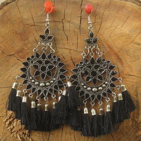 Meenakari Tassel Dangler Earring Black