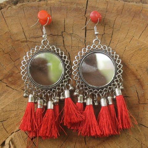 German Silver Tassel Mirror Earring Red