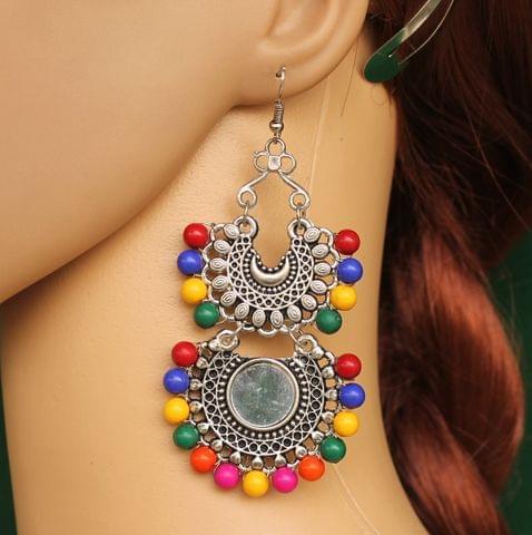 German Silver Beaded Mirror Dangler Earring Multicolor