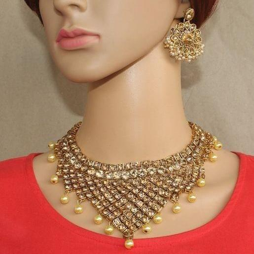 Kundan Pearl Necklace and Earrings set