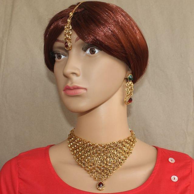 Kundan Necklace Set with Earrings and MaangTika