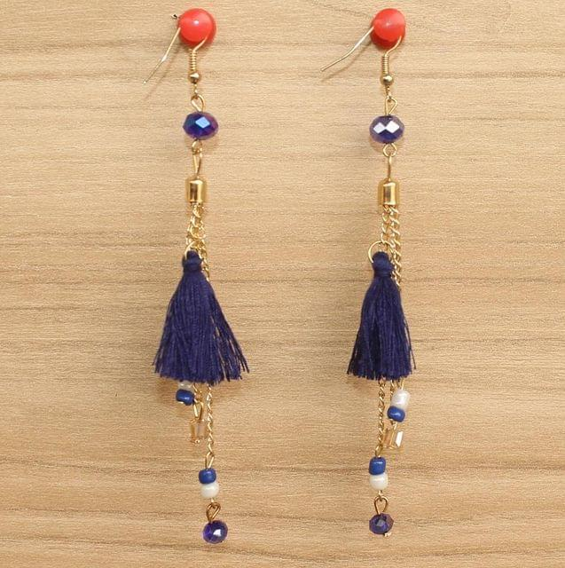 Tassel and Beaded Earrings Blue