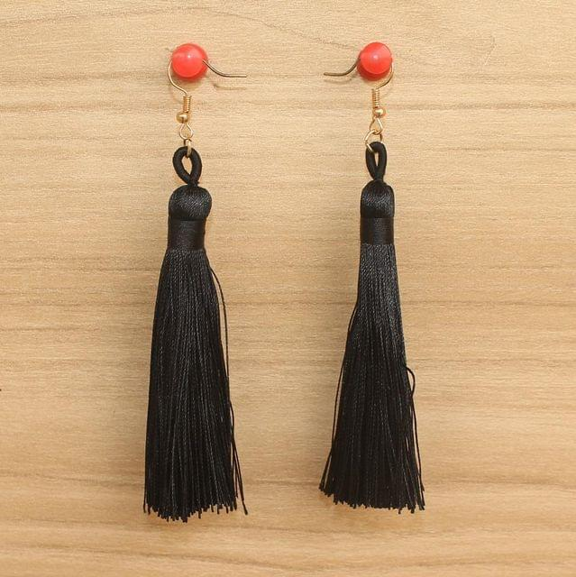 Long Tassel Earrings Black