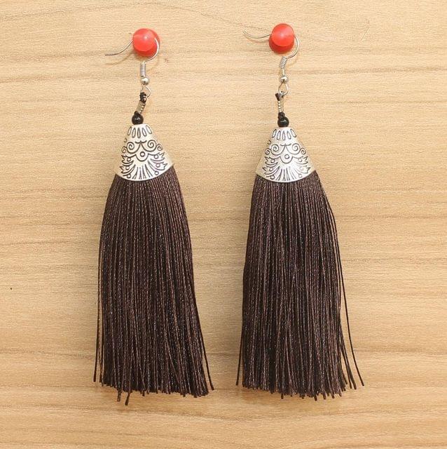 Long Tassel Earrings Brown
