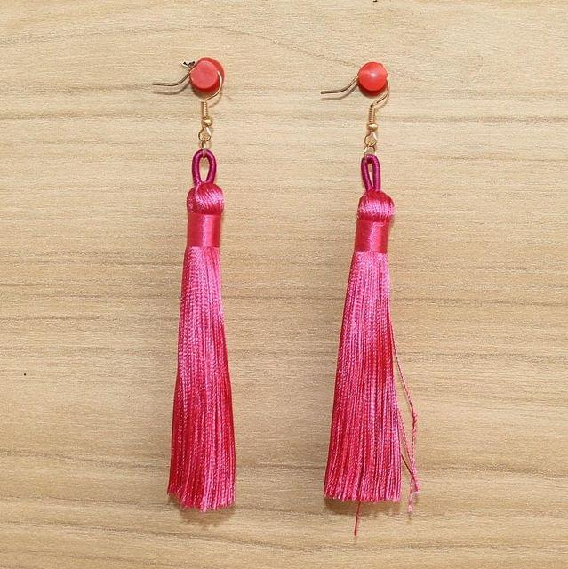 Long Tassel Earrings Hot Pink