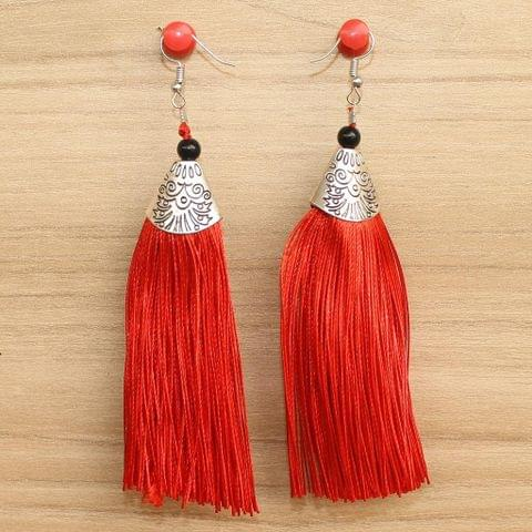 Long Tassel Earrings Red