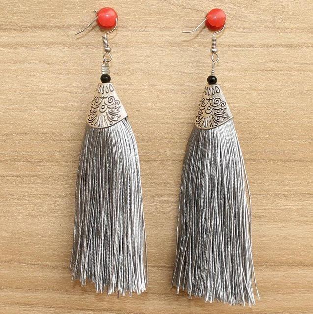 Long Tassel Earrings Grey