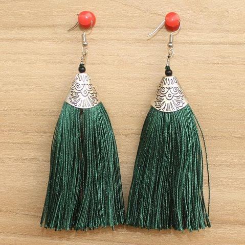 Long Tassel Earrings Green