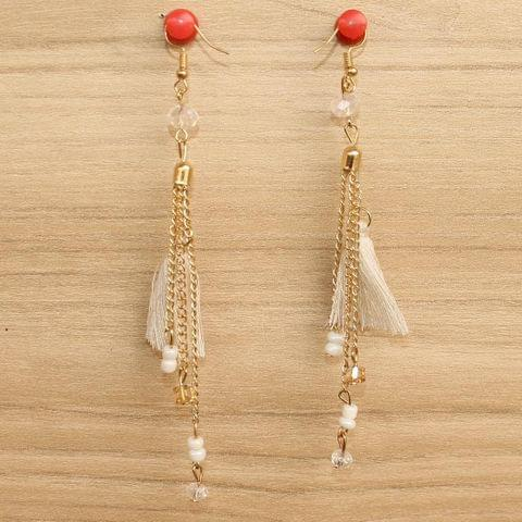 Tassel and Beaded Earrings White