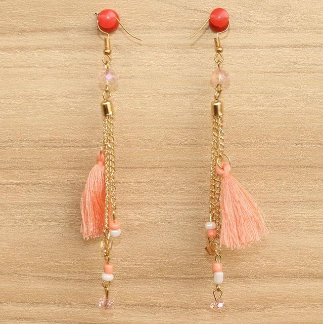 Tassel and Beaded Earrings Peach