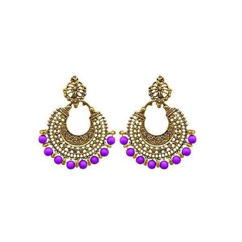 Fashions Purple Beads Antique Gold Plated Afghani Earrings