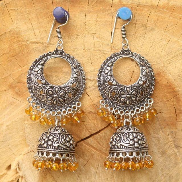 German Silver Chandibali Earring Jhumkas Yellow