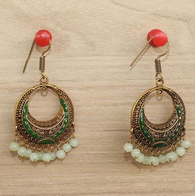 German Silver Chandibali Earrings Green