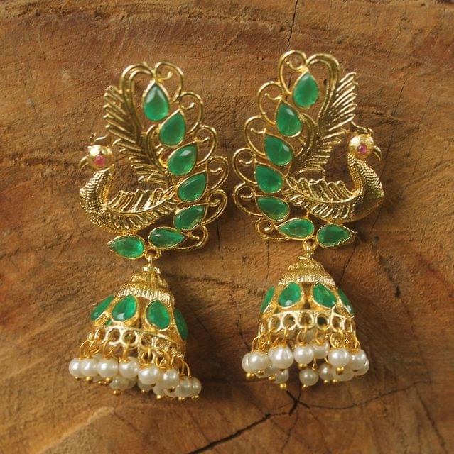 Gold Plated Peacock Kundan Jhumka Earring