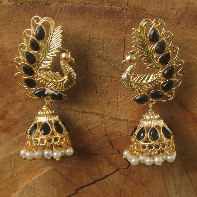 Gold Plated Peacock Kundan Jhumka Earring