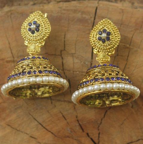 Gold Plated Alloy Pearl Setting Jhumki