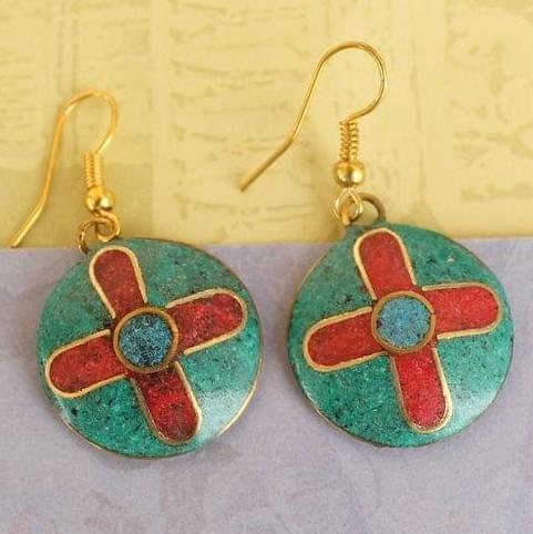 Tibetan Earring Multi Color Round