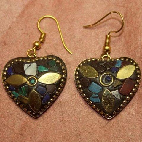 Tibetan Earring Multi Color Heart