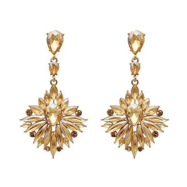 Crystal Stone Gold Plated Dangler Earring