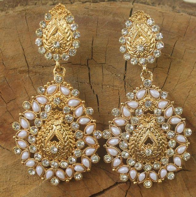 Gold Plated Alloy Pearl and AD Stone Setting Earring