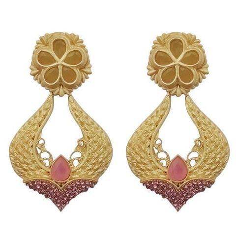 Pink Pota Stone Gold Plated Dangler Earrings