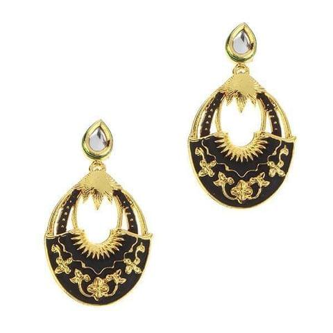 Black Meenakari Gold Plated Dangler Earrings