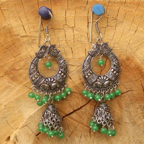 German Silver Chandibali Earring Jhumki Light Green